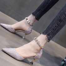 Low top shoes 34,35,36,37,38,39 Other / other Sharp point PU Fine heel High heel (5-8cm) Shallow mouth PU Spring 2020 Flat buckle Korean version Adhesive shoes Youth (18-40 years old) Solid color rubber Single shoes Shallow mouth Face dressing