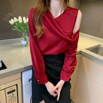 shirt S,M,L,XL Autumn 2020 polyester fiber 51% (inclusive) - 70% (inclusive) Long sleeves commute Regular V-neck Socket routine Solid color 25-29 years old Straight cylinder Button