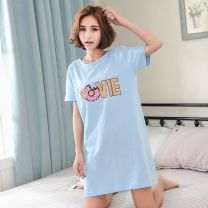 Nightdress Other / other L,XL,M,XXL Simplicity Short sleeve pajamas Short skirt summer Solid color youth Crew neck cotton One piece More than 95% pure cotton W16A1301 200g and below