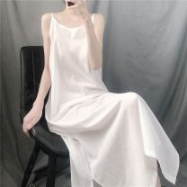 Dress Summer 2020 Plain white (thin cotton) , Ink black One size fits all