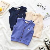 Vest currency Blue [baby vest], off white [baby vest], Navy [baby vest] 130cm,80cm,90cm,100cm,110cm,120cm Other / other spring and autumn routine Official pictures Single breasted college other Solid color other Chinese Mainland 3 months