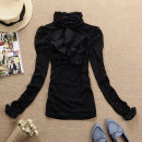 Lace / Chiffon Autumn 2020 Apricot spot, black spot M,L,XL,2XL,3XL Long sleeves commute stand collar Solid color Princess sleeve Other / other bow Korean version