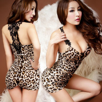Dress Fall 2017 Leopard Print M is suitable for 85-110 Jin, l is suitable for 100-115 Jin Short skirt singleton  Sweet middle-waisted Leopard Print Hollowed out, pleated, open back princess