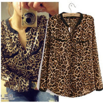 shirt Leopard Print S,L,M,XL Spring 2017 cotton 51% (inclusive) - 70% (inclusive) Long sleeves Versatile Medium length V-neck Single row multi button shirt sleeve Leopard Print printing