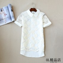 shirt black S,M,L,XL Summer 2021 other 31% (inclusive) - 50% (inclusive) Short sleeve commute Short style (40cm < length ≤ 50cm) other Socket routine other 25-29 years old Self cultivation IN AUGUST 19TH Korean version Lace man-made fiber