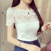 T-shirt Milky white, grey, black Average size Summer 2017 Short sleeve One word collar Self cultivation Regular routine commute Viscose 71% (inclusive) - 85% (inclusive) Korean version classic Splicing Lace, stitching