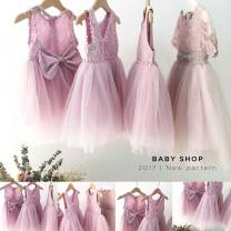 Dress Pink Bow: spot, pin bead: spot, white bow: spot, V-shaped receipt: spot, lace pin bead: spot female Other / other 80cm,90cm,100cm,110cm,120cm,130cm,140cm Cotton 40% other 60% summer princess Skirt / vest Solid color other Pleats 2 years old, 3 years old, 4 years old, 5 years old, 6 years old