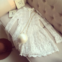 Dress Autumn 2016 Black, white XL,L,M,S singleton  Long sleeves commute stand collar Solid color Socket Princess Dress routine 18-24 years old Embroidery, lace 30% and below Lace other