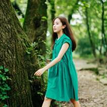 Dress Summer 2016 green M,L,XL,2XL Middle-skirt singleton  Short sleeve commute square neck Loose waist Solid color Socket A-line skirt Type A Retro fungus 51% (inclusive) - 70% (inclusive) hemp