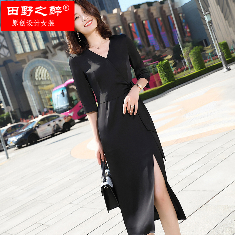 Dress Spring 2020 Red, green, black 4XL,S,M,L,XL,2XL,3XL longuette singleton  three quarter sleeve commute V-neck middle-waisted Solid color zipper One pace skirt routine Others 25-29 years old Other / other Korean version 81% (inclusive) - 90% (inclusive) Silk and satin polyester fiber