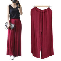 Casual pants One size fits all Spring 2020 Ninth pants Wide leg pants Natural waist commute Thin money 96% and above Shengdongyuan modal  Korean version