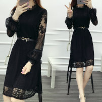 Dress Autumn 2016 White, gray, black S,M,L,XL,2XL,3XL Middle-skirt singleton  Long sleeves Sweet Crew neck middle-waisted Solid color A-line skirt bishop sleeve Type A Lace 51% (inclusive) - 70% (inclusive) Lace cotton princess