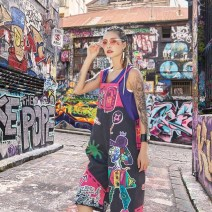 Casual pants Black rose, gorgeous black, graffiti black Average size Summer 2020 Cropped Trousers Straight pants Natural waist street Thin money 71% (inclusive) - 80% (inclusive) polyester fiber straps Rock and roll