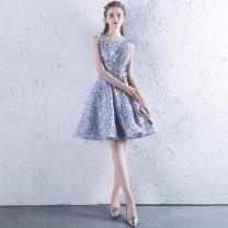 Dress / evening wear Wedding, adulthood, party, company annual meeting, performance, routine, appointment XXL, s, m, l, XL, custom size silvery fashion zipper Silk satin, poplin