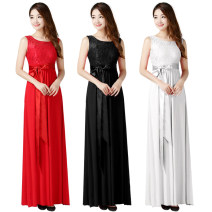 Dress / evening wear Date, routine, performance, company annual meeting, party, rite of passage, wedding XXL, one size fits all, l, XL Red, black, white Intellectuality longuette High waist Summer of 2019 princess U-neck vest Crepe, poplin, rayon + Lace 26-35 years old Sleeveless Solid color
