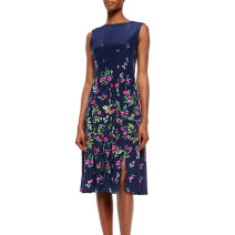 Dress Autumn 2015 As shown in the figure S,M,L,XL,XXL Middle-skirt singleton  Sleeveless commute Crew neck middle-waisted zipper A-line skirt 25-29 years old Zipper, print More than 95% polyester fiber