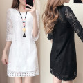 Women's large Summer 2020, spring 2020 White, black Dress singleton  commute easy moderate Socket elbow sleeve Solid color Korean version Crew neck Medium length Three dimensional cutting pagoda sleeve 25-29 years old Gouhua hollow 81% (inclusive) - 90% (inclusive) Medium length other Hollowing out