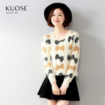 sweater Autumn 2015 Average size Beige bow Long sleeves Socket singleton  Regular nylon 71% (inclusive) - 80% (inclusive) Crew neck Regular commute routine bow Straight cylinder Regular wool Keep warm and warm Kuose / wide H1412011 printing