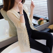 Wool knitwear Summer 2016 Average size Rose Black Beige Pink Long sleeves singleton  Cardigan Medium length Thin money commute easy V-neck routine Solid color Korean version XLY0501 Xueli sheep Bright silk hook flower hollow out Other 100% Pure e-commerce (online only)
