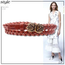 Belt / belt / chain Pu (artificial leather) Black, dark brown female belt ethnic style Single loop youth Flower design 1.8cm alloy weave