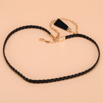 Belt / belt / chain Pu (artificial leather) Brown White Black female belt Sweet Single loop Children, youth, middle age a hook other Glossy surface 1cm alloy weave Cold weapon LBQN110 2015