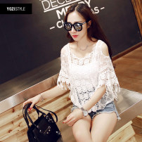 Lace / Chiffon Summer of 2018 Off the shoulder, doufeng middle sleeve, m589 middle sleeve, KK1 middle sleeve White, apricot Tassels, hollowing, embroidery, Gouhua, hollowing, splicing, gauze, lace