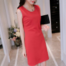 Dress Spring of 2018 Red black SMLXLXXL Middle-skirt singleton  Sleeveless commute Crew neck High waist Solid color Socket Others 25-29 years old 060RX