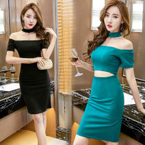 Dress Summer 2020 Emerald green, black S,M,L Middle-skirt singleton  commute One word collar Solid color zipper One pace skirt Hanging neck style Other / other Korean version Cut out, zipper 71% (inclusive) - 80% (inclusive)