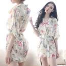 Nightdress Other / other Average size sexy Short sleeve pajamas Short skirt summer Plants and flowers youth V-neck nylon printing More than 95% Chiffon 200g and below