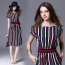 Dress Spring 2020 Blue (double pockets with slubby hemp elastic waist) S,M,L,XL Middle-skirt singleton  Short sleeve street Crew neck middle-waisted A-line skirt Bat sleeve 25-29 years old Type A More than 95% other hemp Europe and America