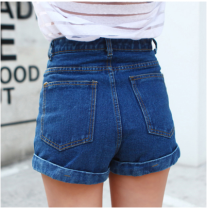Jeans Summer of 2019 blue S,M,L,XL shorts High waist Wide legged trousers routine 18-24 years old Wash, flanging, zipper, button, multi pocket Cotton denim