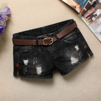 Jeans Spring 2021 Black, light blue, 9602? Side split XS,S,M,L,XL,2XL,3XL shorts low-waisted Wide legged trousers routine 18-24 years old Old, worn, washed, embroidered, white, zipper, button, multi pocket, scratch Cotton denim Dark color 51% (inclusive) - 70% (inclusive)