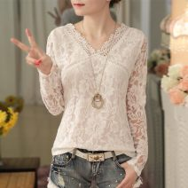 Lace / Chiffon Spring 2021 white S,M,L,XL,2XL,3XL Long sleeves commute Socket singleton  Self cultivation Regular V-neck Solid color routine 25-29 years old Other / other X108 Hollow out, embroidery, Gouhua, hollow out, splicing, mesh, lace Korean version