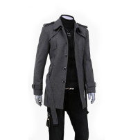 woolen coat Gray, black Others Business gentleman L166-2 Woolen cloth Medium length go to work Self cultivation youth Lapel Single breasted Business Casual Solid color Straight hem winter Side seam pocket wool No iron treatment make a slit or vent