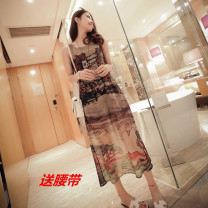 Dress Summer 2015 Picture color S,M,L,XL Mid length dress singleton  Sleeveless commute Crew neck High waist Architecture Socket One pace skirt camisole Fashion street Retro Color tile house More than 95% Chiffon other