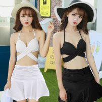 Bikini Tongtong swimsuit White, black, rose, red M,L,XL Skirt bikini Steel strap breast pad Spandex, nylon