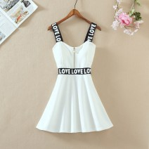Dress Summer 2020 White lumbar letter S,M,L,XL Mid length dress singleton  Sleeveless Sweet One word collar middle-waisted Solid color Socket Princess Dress routine Breast wrapping 18-24 years old Type A Yi Meiyuan Splicing, three-dimensional decoration fashion dress  cotton college