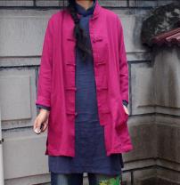 short coat Spring 2021 Average size Rose red, dark blue Long sleeves routine singleton  Original design stand collar Solid color 51% (inclusive) - 70% (inclusive) hemp