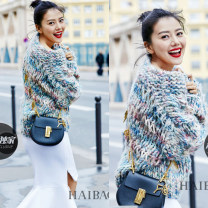 sweater Spring 2017 Average size Picture color Long sleeves Socket singleton  Regular acrylic fibres 81% (inclusive) - 90% (inclusive) Crew neck Regular commute other Bat type Coarse wool Keep warm and warm 18-24 years old Yu Hanqing