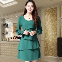 Dress Spring of 2018 Dark green, pink S,M,L,XL,2XL,3XL Middle-skirt singleton  Long sleeves commute Crew neck middle-waisted Solid color zipper Cake skirt pagoda sleeve Others 30-34 years old Type A Heart washing clothes lady Ruffle, stitching, asymmetric, zipper More than 95% other polyester fiber