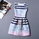Dress Autumn 2021 White, black, rose, pink, red, blue, 05,83,80,76,73,72,67,65,52,61,57,34,29,32,24,02,11,09 S,M,L,XL,2XL Middle-skirt singleton  Sleeveless commute Crew neck middle-waisted character zipper A-line skirt other straps 18-24 years old Type A Korean version Fold, zipper, print