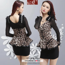 Dress Winter 2015 Gray leopard, small Brown Leopard, big Brown Leopard S,M,L,XL,2XL,3XL Short skirt Fake two pieces Long sleeves commute V-neck middle-waisted Solid color Socket Ruffle Skirt routine It's already summer Korean version