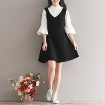 Dress Summer 2017 Picture color S,M,L,XL,2XL Mid length dress Fake two pieces three quarter sleeve Sweet Crew neck Loose waist Solid color zipper Princess Dress Lotus leaf sleeve 18-24 years old Type A Other / other 51% (inclusive) - 70% (inclusive) Mori