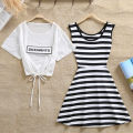 Dress Summer 2017 Short skirt Two piece set Short sleeve commute Crew neck middle-waisted stripe Socket A-line skirt routine Others 18-24 years old Korean version Print, bow More than 95% polyester fiber