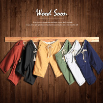 Casual pants fashion City Apricot 7 points Wood soon/My speed 170 / M conventional No bombs WS13BK668D 100% cotton Summer 2015 other