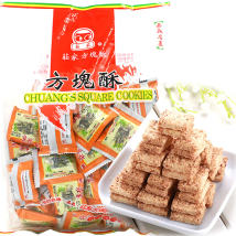 Crisp biscuit packing Crispy cubes 420g Taiwan 420g Taiwan makers (Taiwan) 365 days Banker Taiwan 0800351816 Flour, sugar, vegetable oil, sesame, wheat, plum, green onion, salt, black sesame, seaweed, black sugar Black sesame, whole wheat, peanut Cool and dark Import