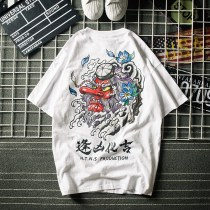T-shirt Youth fashion white routine XXL Powoeon / Paine One hundred and ninety-eight Cotton 100% Cotton wool Summer of 2018