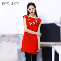 Dress More than 95% polyester fiber Autumn 2016 Short skirt singleton  Sleeveless street ECS & KCs / iskas Crew neck middle-waisted Solid color Condom A-line skirt 25-29 years old 73L001A Splicing Europe and America S,M,L