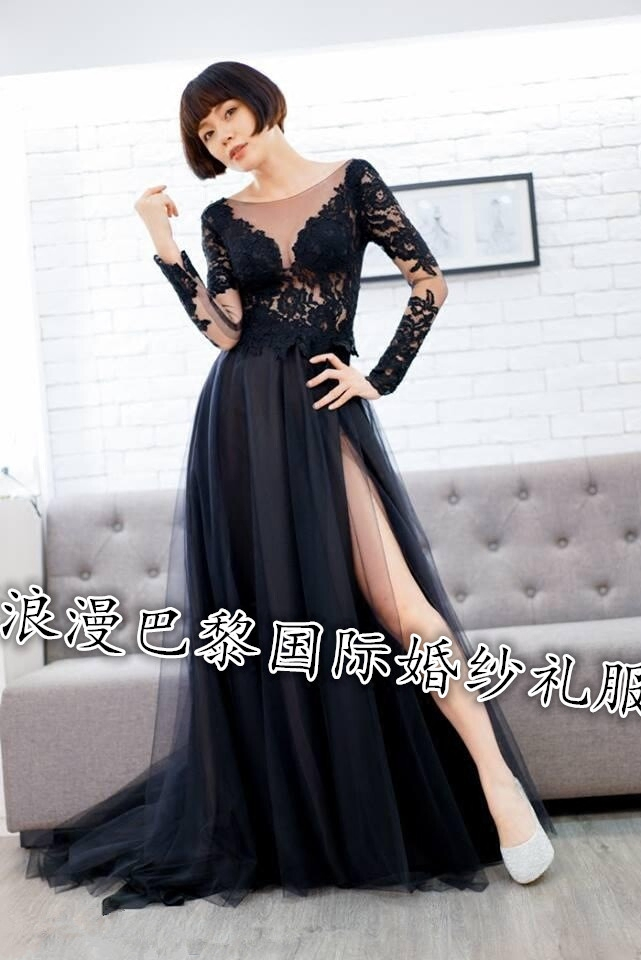 Dress / evening wear Wedding ceremony party company annual meeting performance routine S chest 80 waist 61 m chest 84 waist 67 l chest 88 waist 71 available in customized size Other colors black fashion longuette middle-waisted Spring 2017 Fall to the ground One shoulder zipper Netting Long sleeves