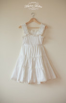 Dress white XS,S,M,L,XL Middle-skirt Sleeveless Solid color cotton
